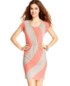 Juniors Dress, Cap Sleeve Striped