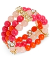 Haskell Bracelet, Gold-Tone Fuchsia and Orange Bea