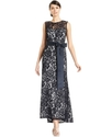Betsy and Adam Dress, Sleeveless Belted Lace Gown