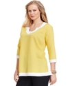 Plus Size Top, Three-Quarter-Sleeve Tunic