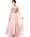 Xscape Dress, Strapless Sequin Belted Sweetheart G