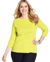Signature Plus Size Top, Three-Quarter-Sleeve Boat