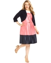 Plus Size Dress and Jacket, Sleeveless Belted Colo