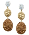 18k Gold Over Sterling Silver Earrings, Gold, Whit