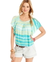 Juniors Top, Short Batwing Sleeve Striped