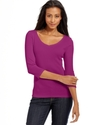 Top, Three-Quarter-Sleeve Pima Cotton V-Neck