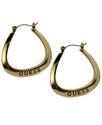GUESS Earrings, Gold-Tone Logo Square Hoop Earring