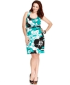 Plus Size Dress, Sleeveless Printed Belted