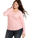Plus Size Top, Long-Sleeve Lace Thermal