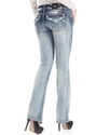 Jeans, Bootcut Light-Wash Rhinestone Studded