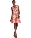 Petite Dress, Sleeveless Ruched Floral-Print Lace