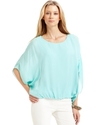 Top, Short-Sleeve Dolman Bubble-Hem Blouson