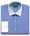 Dress Shirt, Navy and White Stripe with White Coll