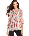 Top, Three-Quarter-Sleeve Floral-Print