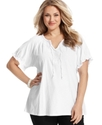 Plus Size Top, Short-Sleeve Embroidered Peasant