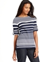 Top, Three-Quarter-Sleeve Striped Boat-Neck