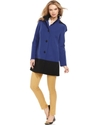 Petite Coat, Hooded Colorblock Raincoat