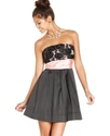 Juniors Dress, Strapless Rosette Sash A-Line