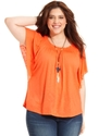 Plus Size Top, Short-Sleeve Smocked