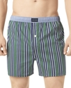 Men's Underwear, Green Stripe Woven Boxers
