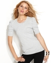 Sweater, Short-Sleeve Ruched Metallic