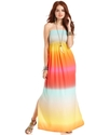 Juniors Dress, Strapless Printed Maxi