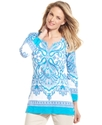 Petite Top, Three-Quarter-Sleeve Printed Tunic