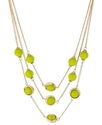 New York Necklace, Gold-Tone Lime Green Bead Illus