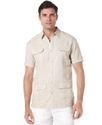 Big and Tall Shirt, Linen-Blend Short Sleeve Embro