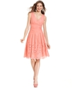 Petite Dress, Sleeveless Ruched Pleated Eyelet