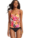 Swimsuit, Printed Ruffled Tankini Top Women's Swim
