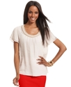 Top, Short-Sleeve Chain-Trim