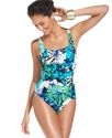 Swimsuit, Floral-Print Ruched One-Piece Women's Sw