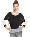 Top, Three-Quarter Scoop-Neck Colorblocked