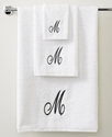 Avanti Bath Towels, Initial Script White and Silve