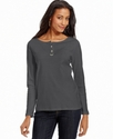 Top, Long-Sleeve Cotton Henley