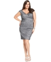 Plus Size Dress, Cap-Sleeve Textured Cocktail Dres