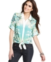Top, Three-Quarter-Sleeve Floral-Print Tie-Front
