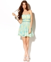 Juniors Dress, Strapless Printed A-Line