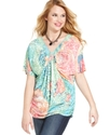 Plus Size Top, Short-Sleeve Printed Embellished
