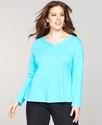 Plus Size Top, Long-Sleeve V-Neck Voile-Trim
