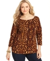 Signature Plus Size Top, Three-Quarter-Sleeve Anim