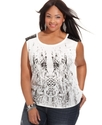 Plus Size Top, Sleeveless Printed Studded