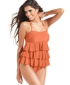 Swimsuit, Bandeau Tiered Ruffle Tankini Top Women'