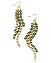 Ali Khan Earrings, Gold-Tone Green Box Chain Drop 