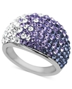 Sterling Silver Ring, Purple Crystal Dome Ring wit