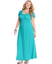 Plus Size Dress, Short Sleeve Empire Maxi