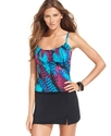 Swimsuit, Feather-Print Spaghetti-Strap Tankini To