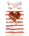 GUESS Kids Top, Girls Striped Sequin-Heart Tank