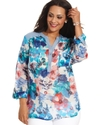 Plus Size Top, Three-Quarter-Sleeve Floral-Print